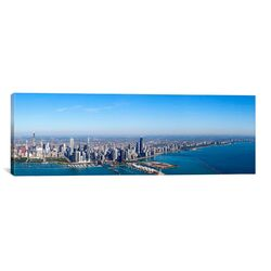 Panoramic Aerial View of Chicago from Lake Michigan, Illinois Photographic Print on Canvas