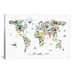 'Animal Map of the World' by Michael Tompsett Graphic Art on Canvas