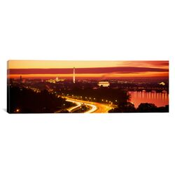 Panoramic Sunset, Aerial, Washington, D.C, District of Columbia Photographic Print on Canvas