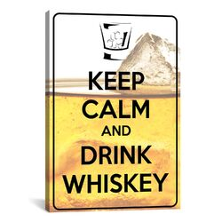 Keep Calm and Drink Whiskey Textual Art on Canvas