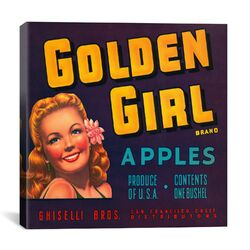 Golden Girl Apples Vintage Crate Label Poster
