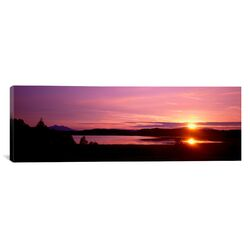 Panoramic Germany, Forggen Lake at Sunset Photographic Print on Canvas