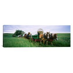 Panoramic Historical Reenactment, Covered Wagons in a Field, North Dakota Photographic Print on ...