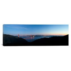 Panoramic Golden Gate Bridge from Hawk Hill, San Francisco, California Photographic Print on Canvas