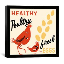 Healthy Poultry-Fresh Eggs Advertising Vintage Poster