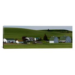 Panoramic Farm with Double Barns in Wheat Fields, Washington State Photographic Print on Canvas