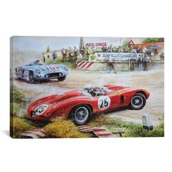 Cars and Motorcycles Ferrari Vs. Mercedes Vintage Drawing Painting Print on Canvas