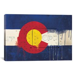 Colorado Flag, Metal Rivet with Paint Drips Graphic Art on Canvas