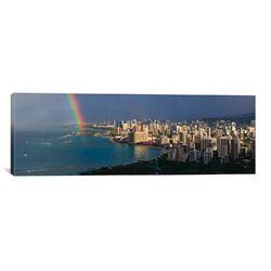 Panoramic Honolulu Skyline Cityscape (Rainbow) Photographic Print on Canvas