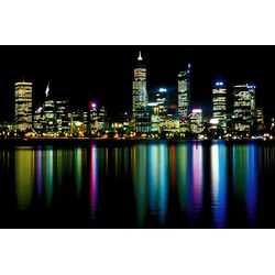 Downtown City Lights Photographic Print on Canvas