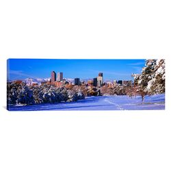Panoramic Denver City in Winter, 2011, Colorado Photographic Print on Canvas