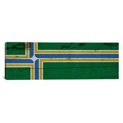 Portland Flag, Wood Planks Panoramic Graphics Art on Canvas