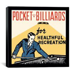 Pocket Billiards for Healthful Recreation Advertising Vintage Poster