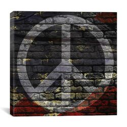Peace Sign, USA Flag, Brick Wall Graphic Art on Canvas