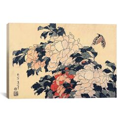 'Peonies and Butterfly' by Katsushika Hokusai Painting Print on Canvas