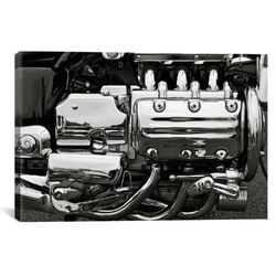 Cars and Motorcycles 'Engine Grayscale' Photographic Print on Canvas