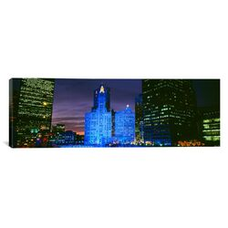 Panoramic Wrigley Building Blue Lights, Chicago, Illinois Photographic Print on Canvas