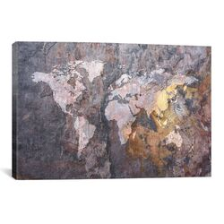 'World Map on Stone Background' by Michael Tompsett Graphic Art on Canvas