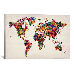 'World Map Hearts II' by Michael Tompsett Graphic Art on Canvas
