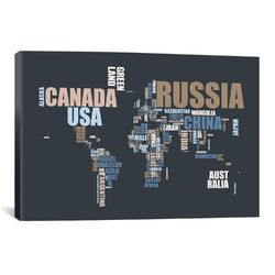 'World Map in Words' by Michael Tompsett Textual Art on Canvas