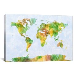 'World Map' by Michael Tompsett Painting Print on Canvas