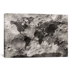 'World Map on the Moon's Surface' by Michael Tompsett Graphic Art on Canvas