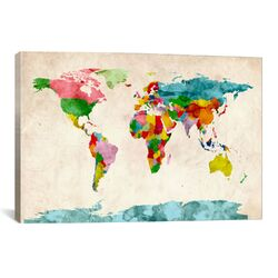 World Map Watercolors III Painting Print on Canvas