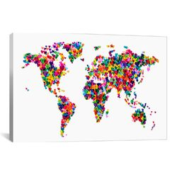 'World Map Hearts' by Michael Tompsett Graphic Art on Canvas