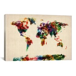 'Map of The World (Abstract Painting)' by Michael Tompsett Painting Print on Canvas