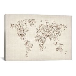 'Map�of the�World Map�Floral Swirls' by Michael Tompsett Graphic Art on Canvas