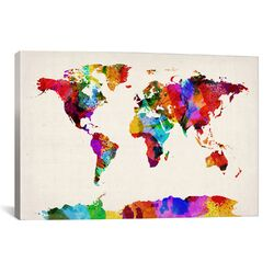 'Map of The World (Abstract Painting) II' by Michael Tompsett Graphic Art on Canvas