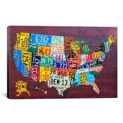 Decorative Art 'License Plate Map USA' by David Bowman Graphic Art on Canvas