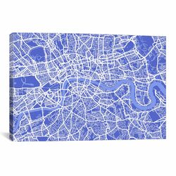'London Map IV' by Michael Thompsett Graphic Art on Canvas