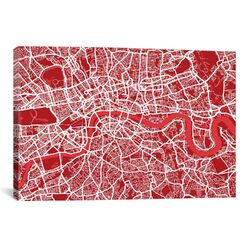 'London Map III' by Michael Thompsett Graphic Art on Canvas