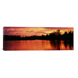 Panoramic Lake at Sunset, Vermont Photographic Print on Canvas