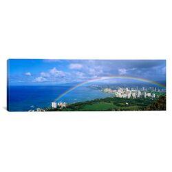 Panoramic Rainbow Over A City, Waikiki, Honolulu, Oahu, Hawaii Photographic Print on Canvas