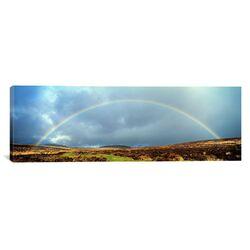 Panoramic Rainbow Above Fernworthy Forest, Dartmoor, England Photographic Print on Canvas