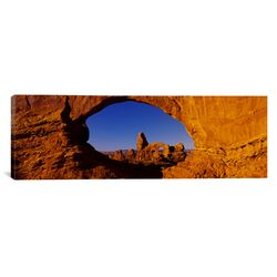 Panoramic Natural Arch on a Landscape, Arches National Park, Utah Photographic Print on Canvas