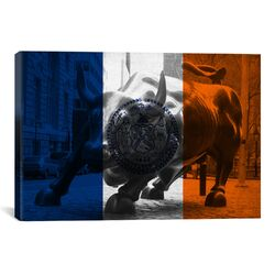 Flags New York Grunge Wallstreet Bull Graphic Art on Canvas
