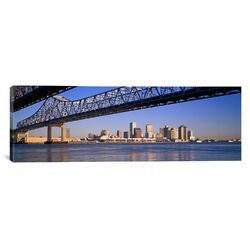 Panoramic Crescent City Connection Bridge and the Mississippi River, New Orleans, Louisiana ...