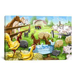 Kids Children Farm Animals Cartoon Canvas Wall Art