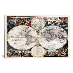Antique Maps Nova Totius Terrarum Orbis Tabula (1684) by J Bormeester Graphic Art on Canvas ...