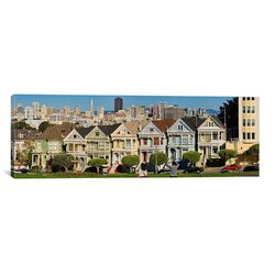 Panoramic 'Famous row of Victorian Houses called Painted Ladies, San Francisco, California' ...
