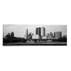 Columbus Panoramic Skyline Cityscape Photographic Print on Canvas in Black / White
