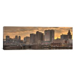 Panoramic Newark Skyline Cityscape Photographic Print on Canvas in Sunset