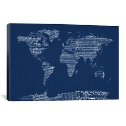 World Map Sheet Music by Michael Tompsett Textual Art on Canvas in Blue