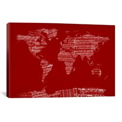 World Map Sheet Music by Michael Tompsett Textual Art on Canvas in Red