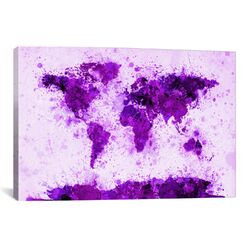 World Map Splashes by Michael Tompsett Painting Print on Canvas in Purple