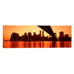Panoramic 'New York, East River and Brooklyn Bridge' Photographic Print on Canvas