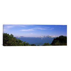 Panoramic Sea with The Bay Bridge and Alcatraz Island in The background, San Francisco, Marin ...